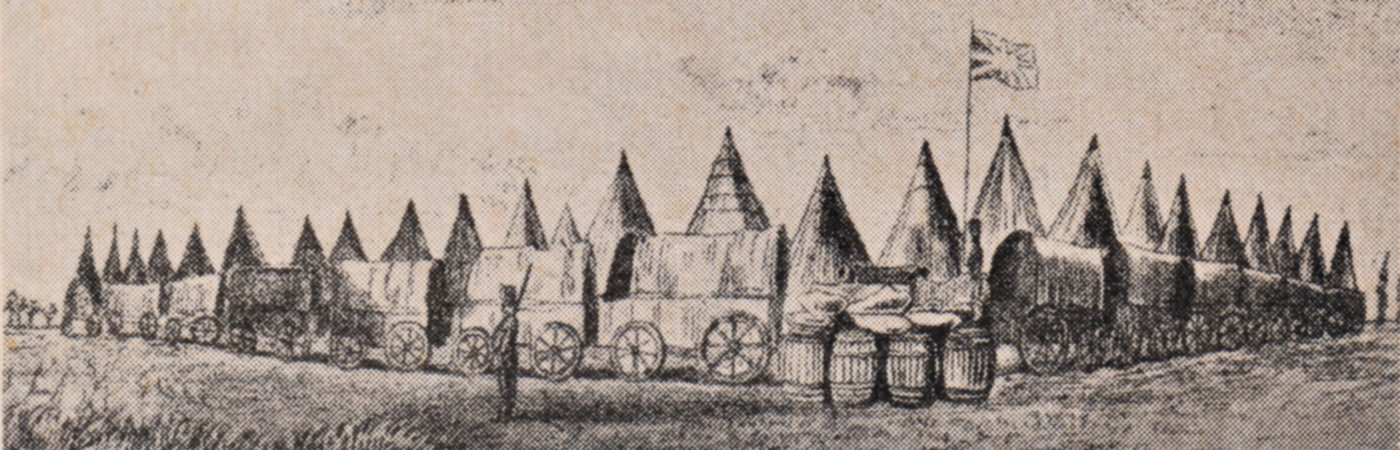 Temporary British Camp at Congella - 1842. Image.
