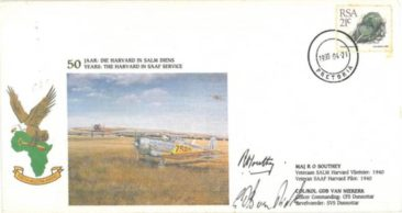 The first day cover commemorating the Harvard's 50 years of service with the SAAF. image