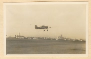 A Harvard flown by Bob Southey takes off from Stamfordhill Airport en route to to Swartkops. image
